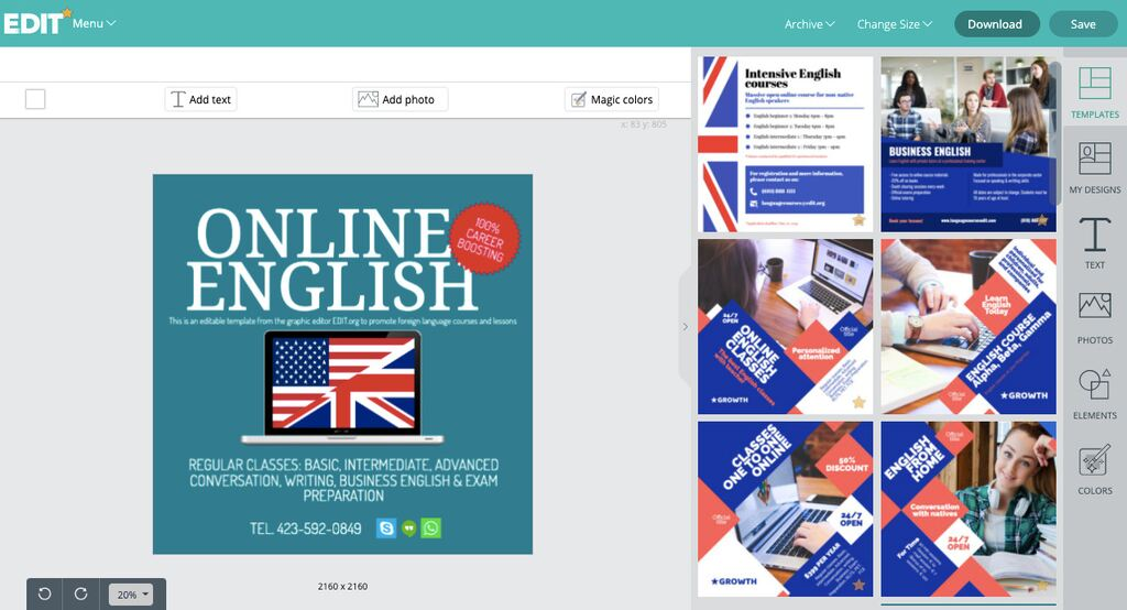 Editable templates for language classes to personalize online
