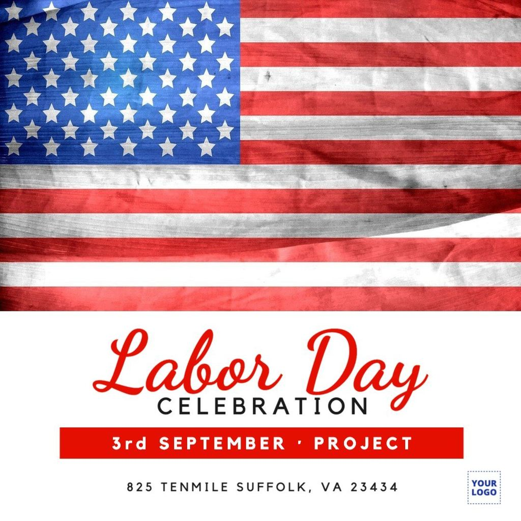 Labor day template with the American flag
