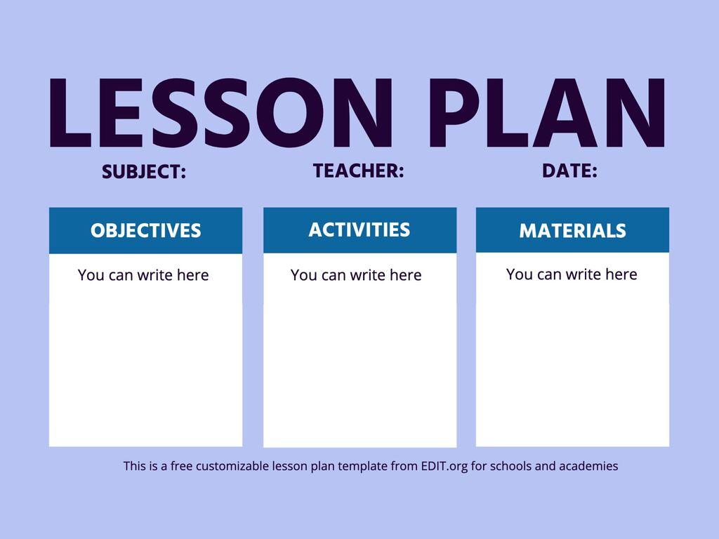 Editable and printable lesson plan templates