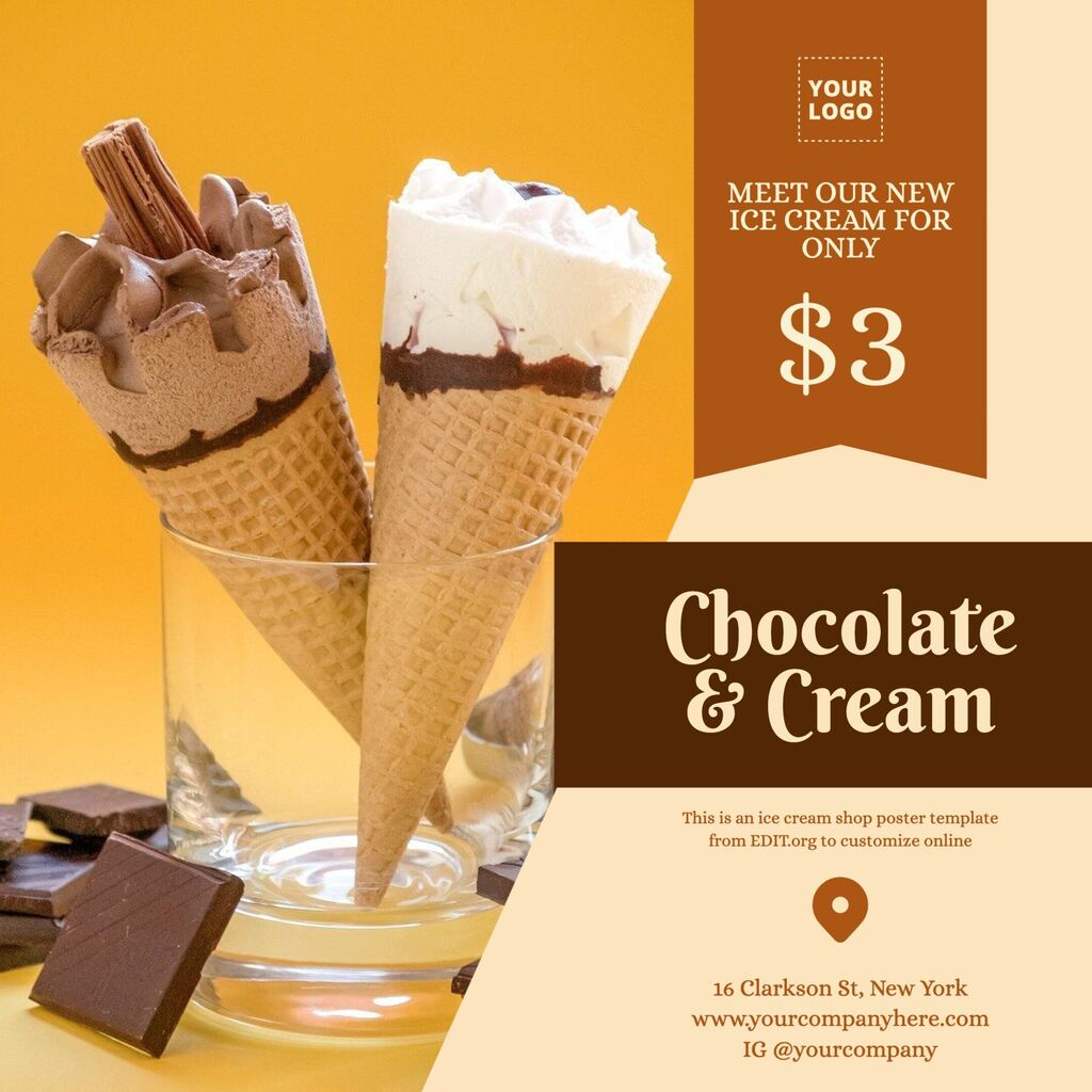 Ice cream flyer template for ice cream parlors
