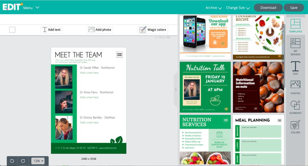Online editor for nutrition templates and meal planners templates