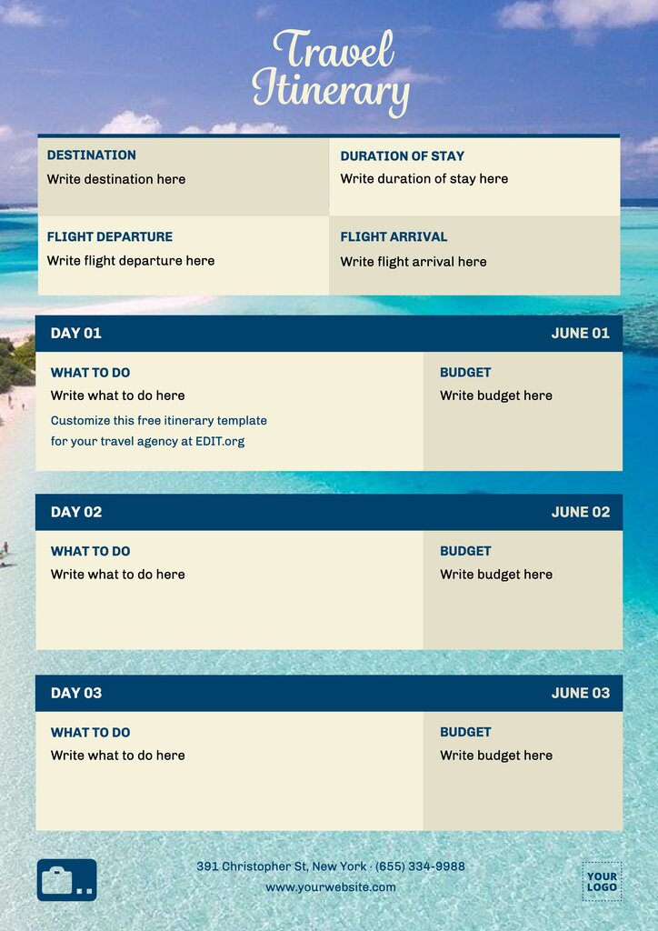 Free travel itinerary template to print