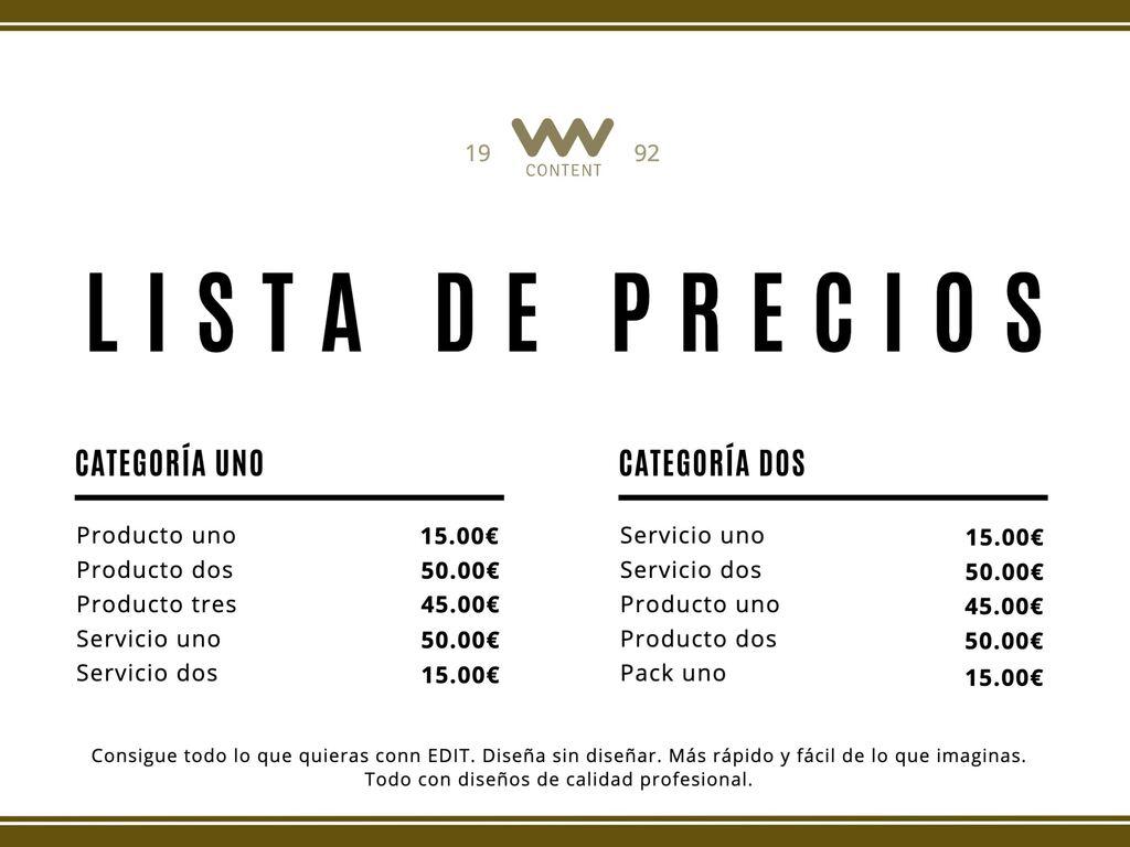 Plantilla lista de precios editable para imprimir A4