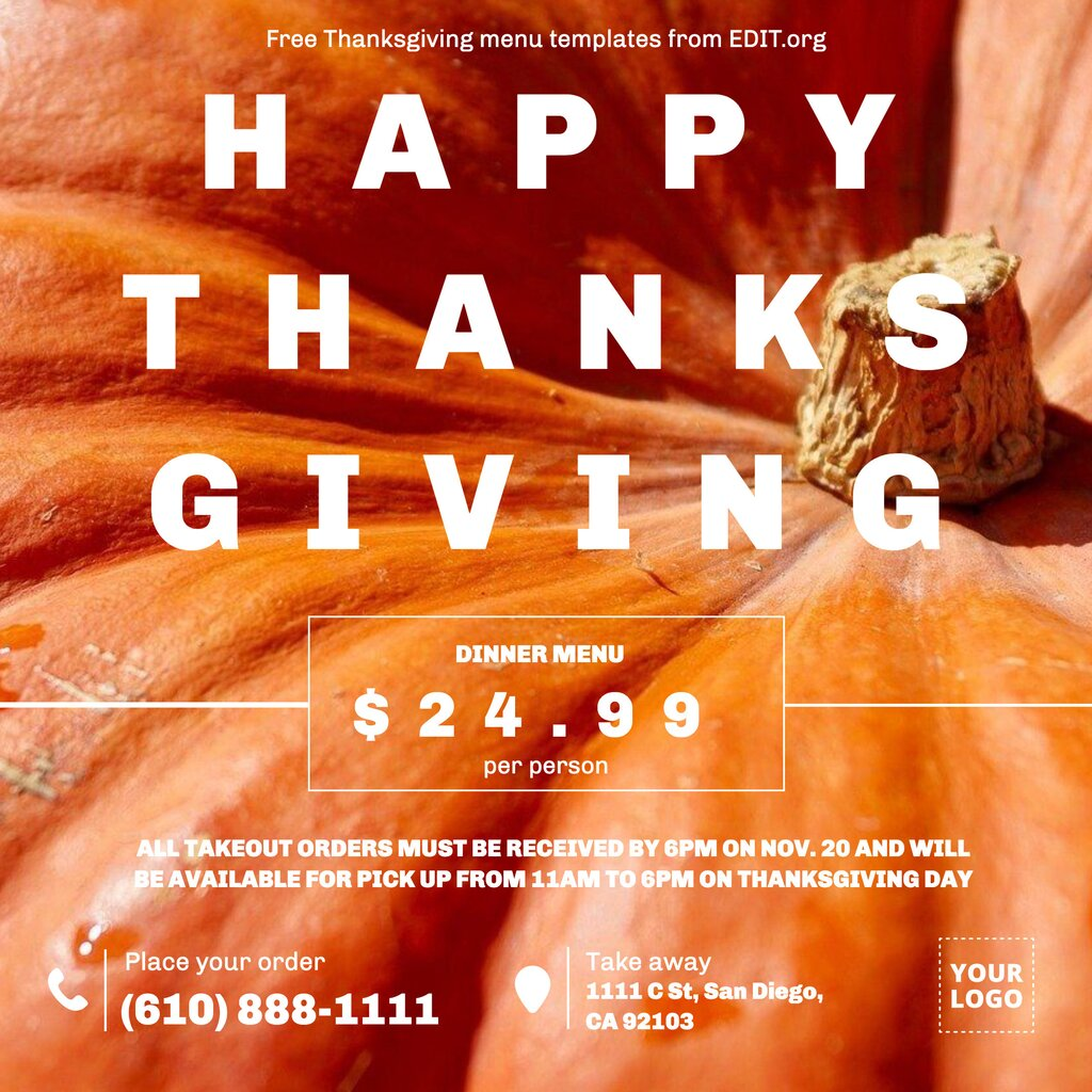 Happy Thanksgiving greeting card to edit online