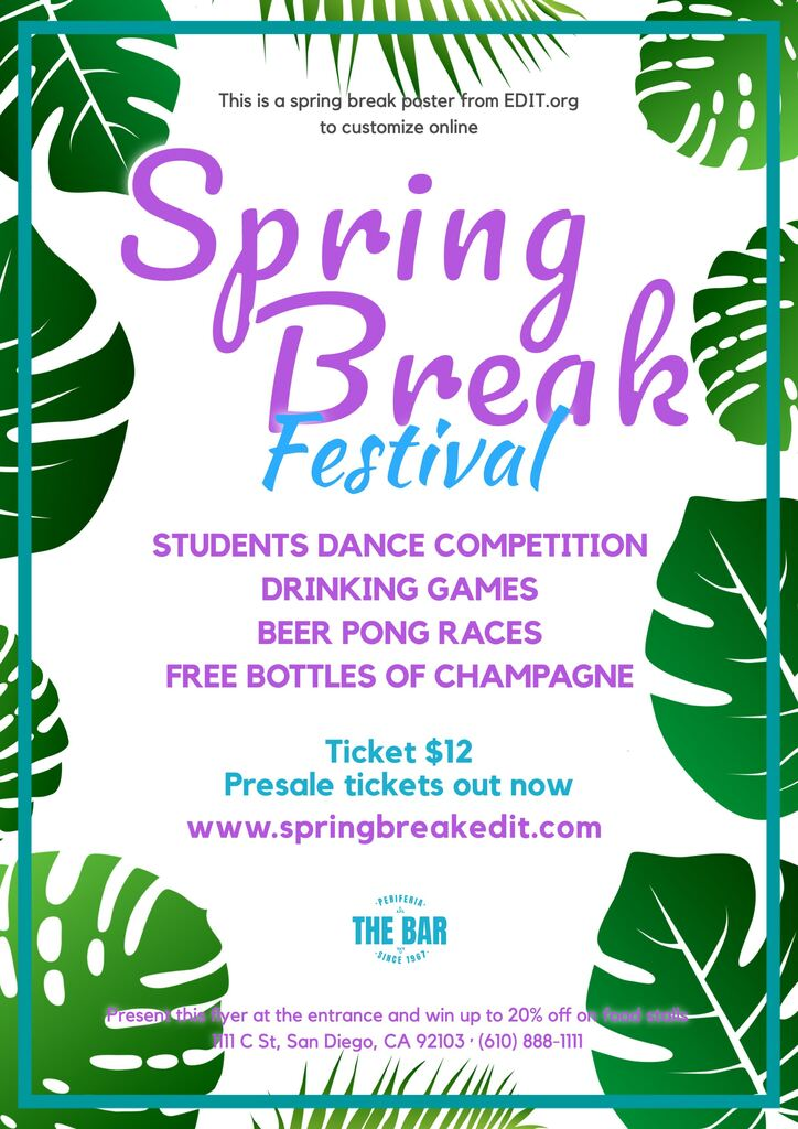 Customizable posters for Spring Break festivals or sale
