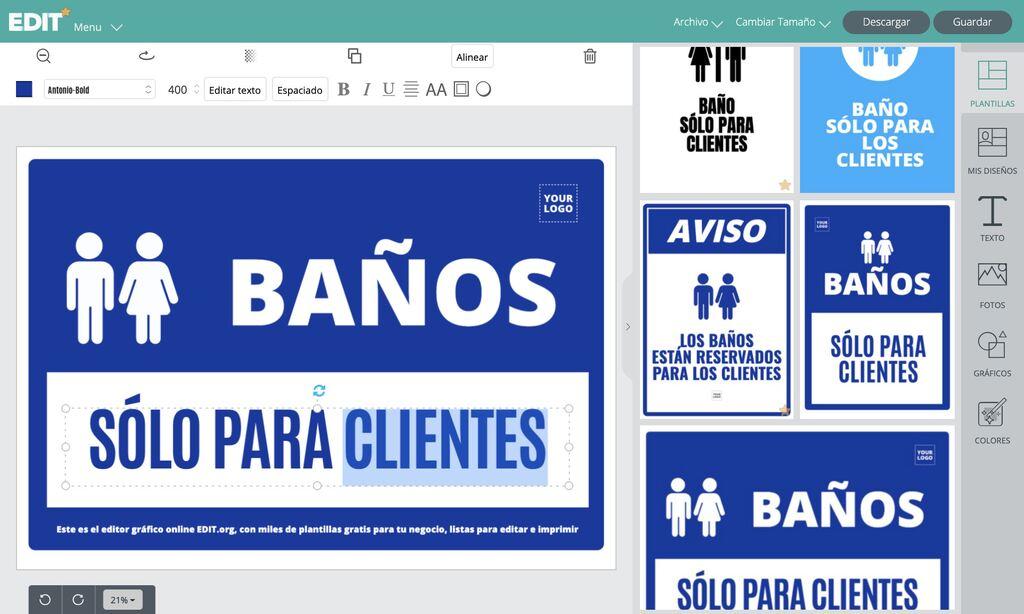 Editor gráfico online con plantillas gratis de carteles para baños exclusivos para clientes