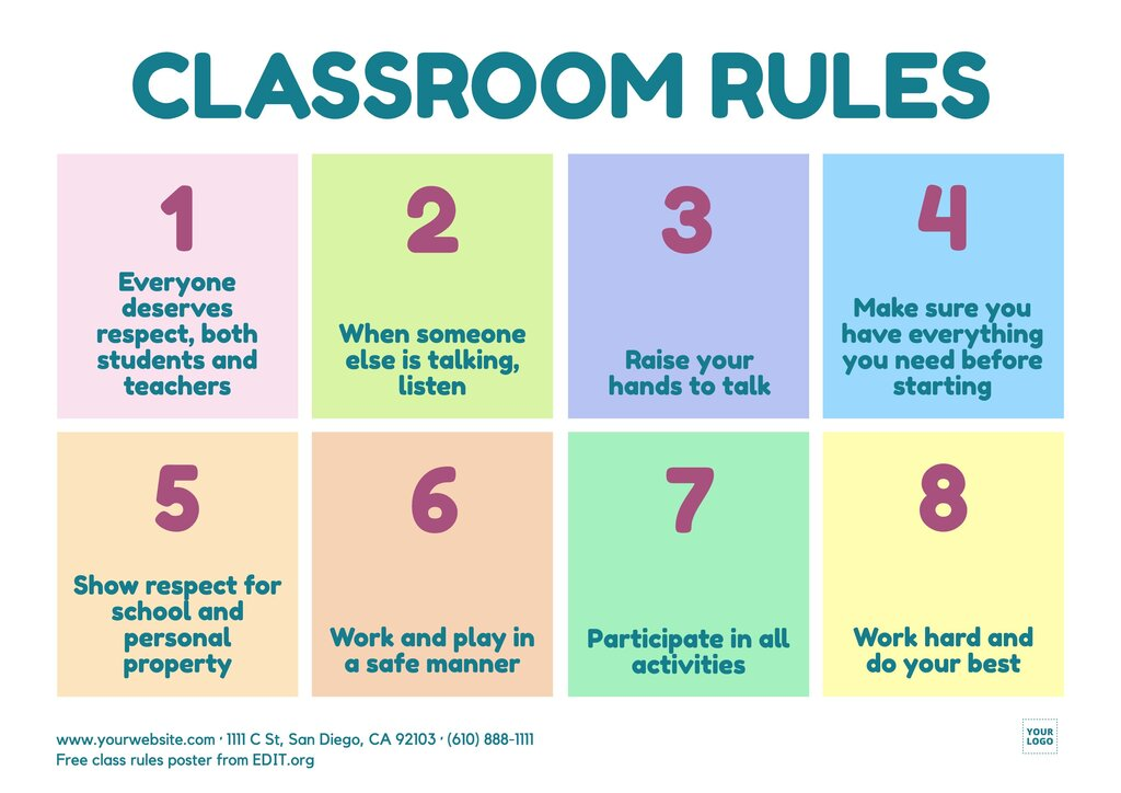 Free classroom rules poster template