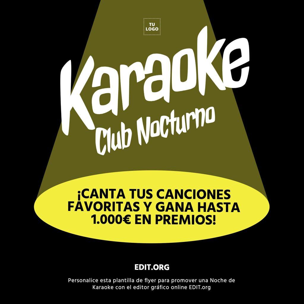 Plantilla editable de flyer para promocionar una noche de Karaoke