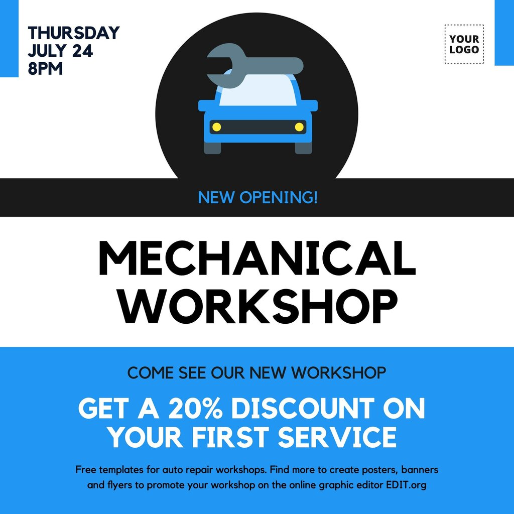 Editable banner template to promote your mechanical workshop