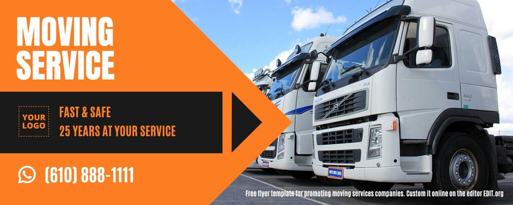 Moving and removal services design free template for a banner to edit online