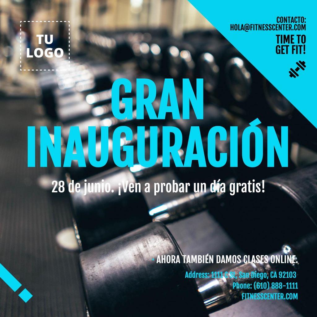 Imagen invitación inauguracion gimnasio editable con pesas