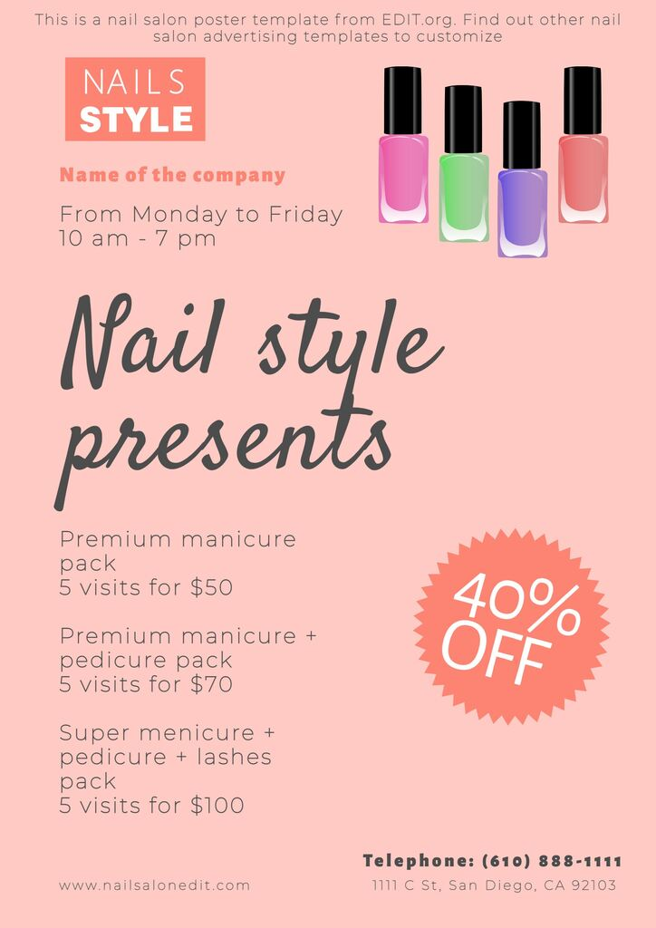 Nail salon brochure templates to edit for free