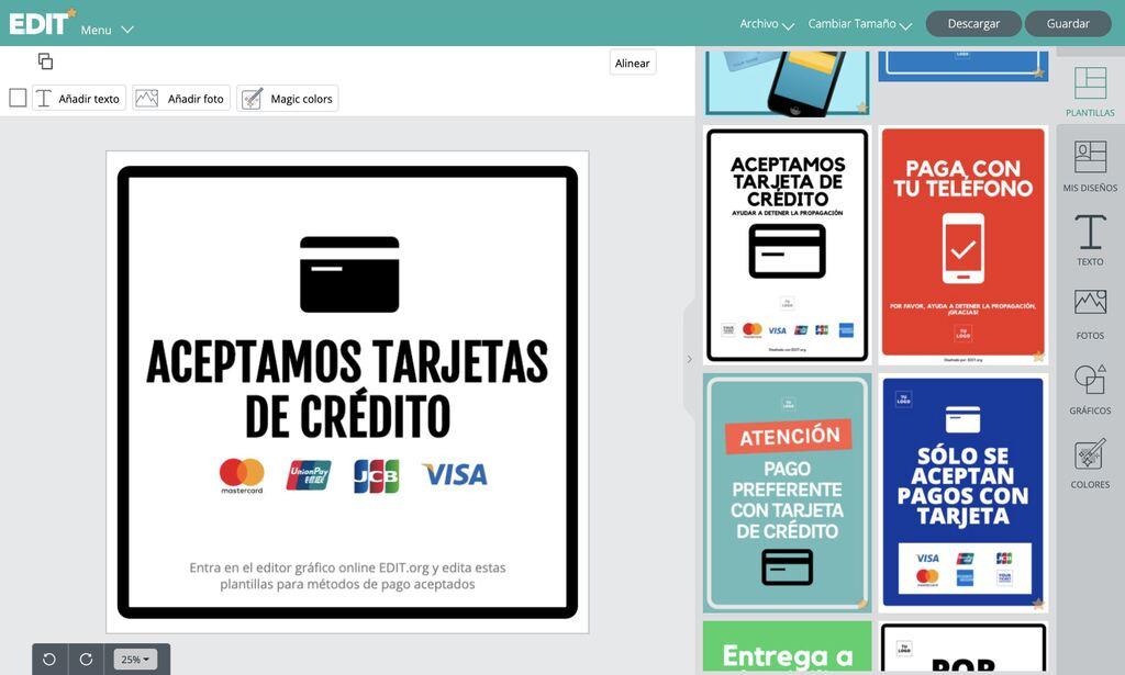 Editor grafico online para crear tu cartel de pago con tarjeta o efectivo