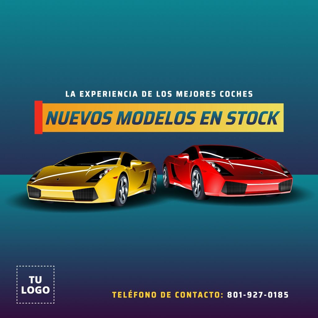 Template editable para promocion coches nuevos en stock
