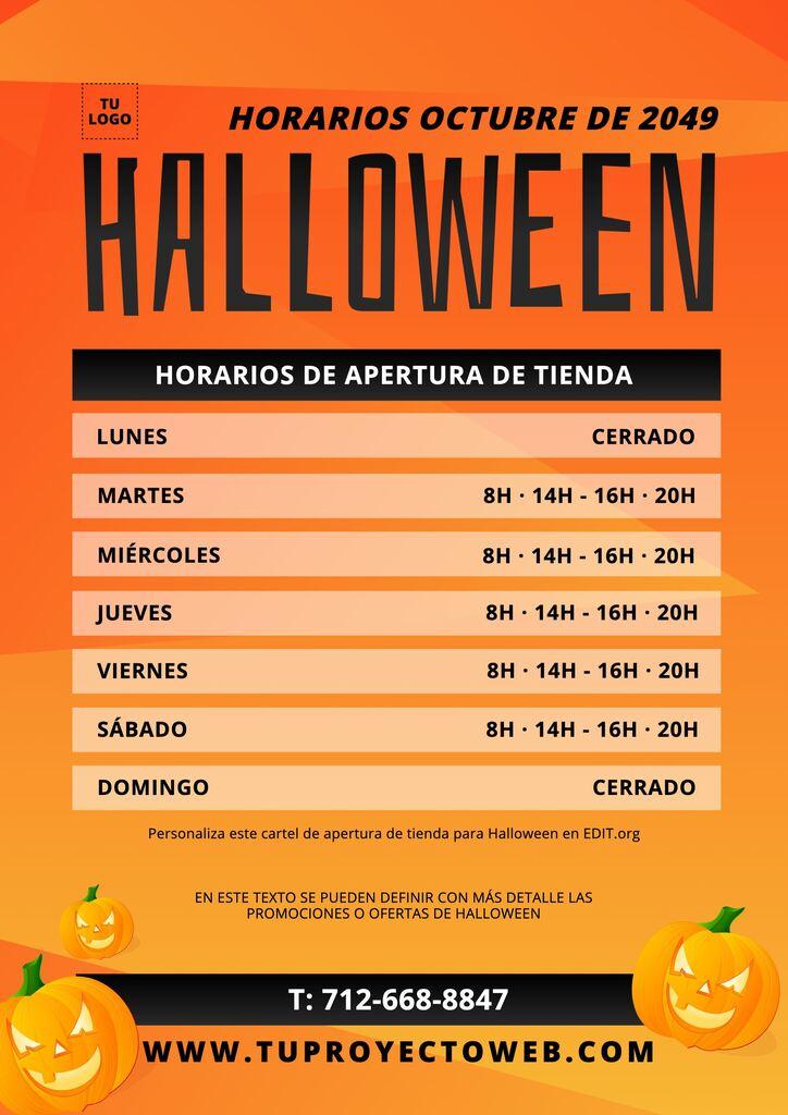Plantilla editable de cartel de apertura para Halloween