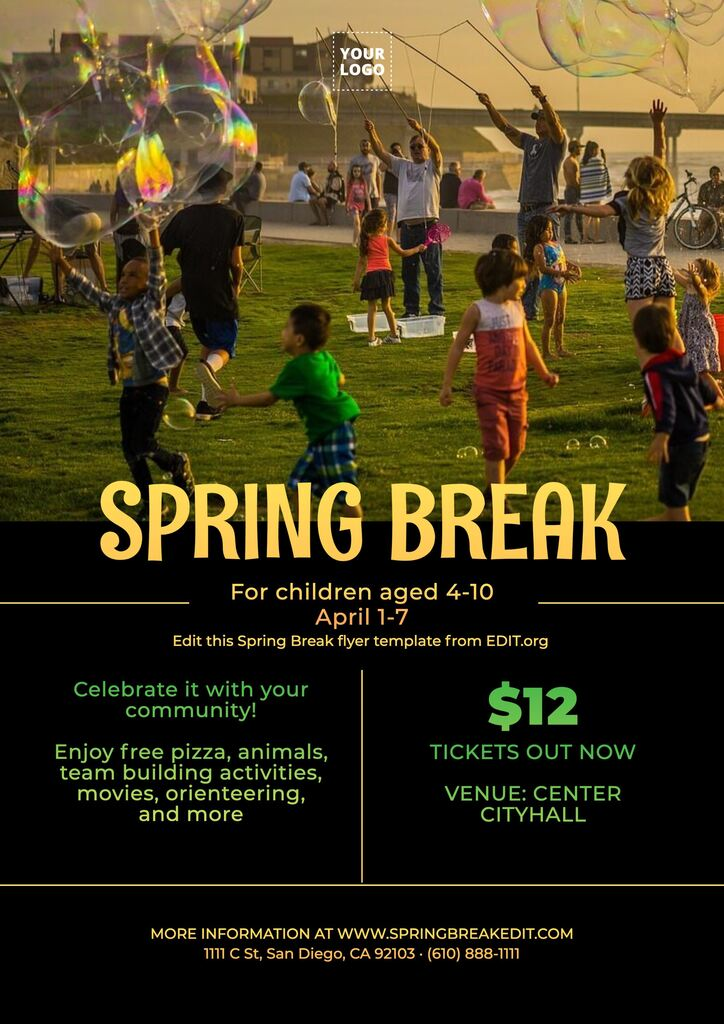 Editable Spring Break promo for business