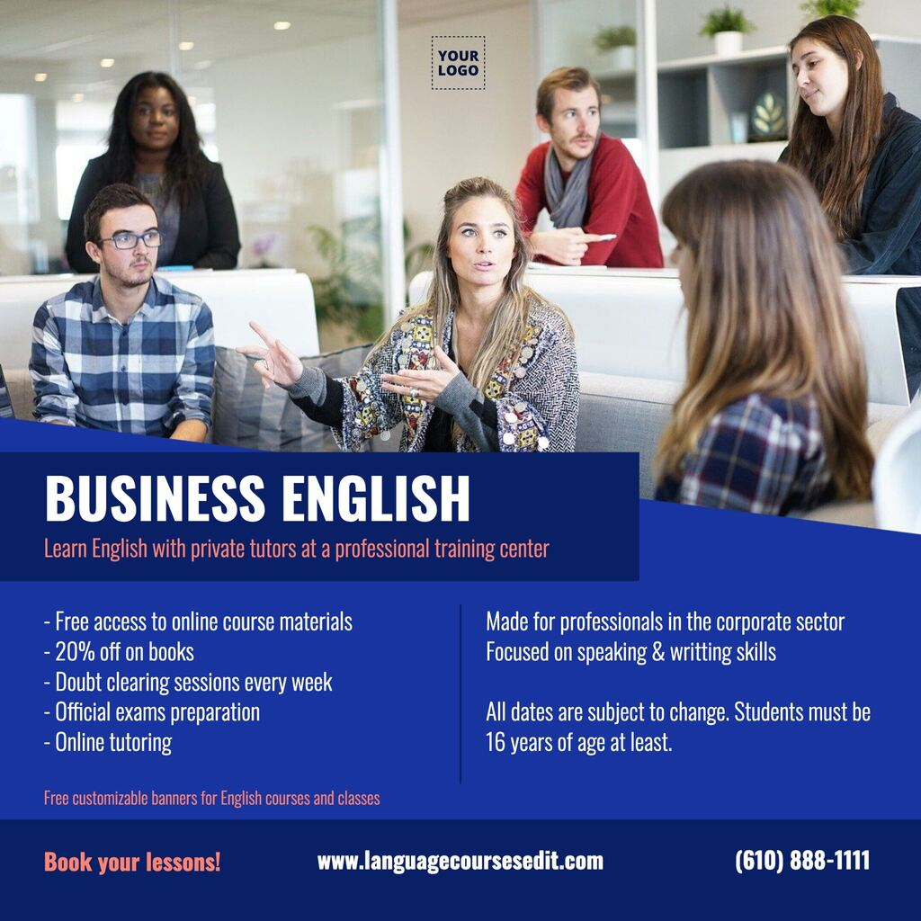 English classes banner to customize for schools