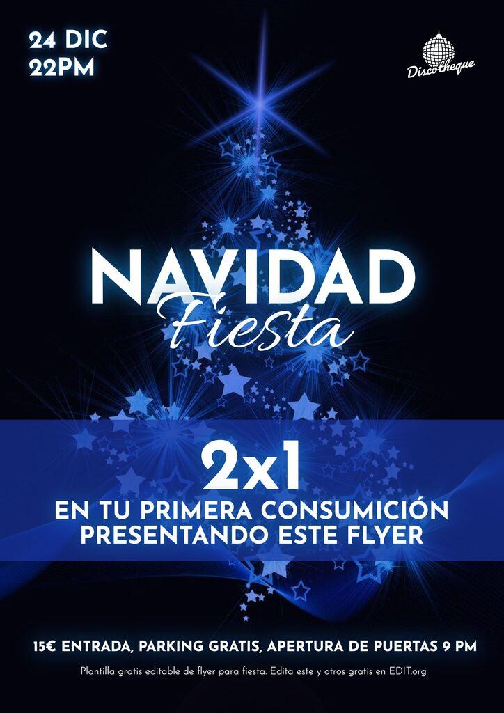 Flyer fiesta Navidad editable online gratis. 2x1