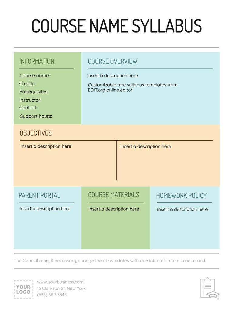 Custom online syllabus template to print