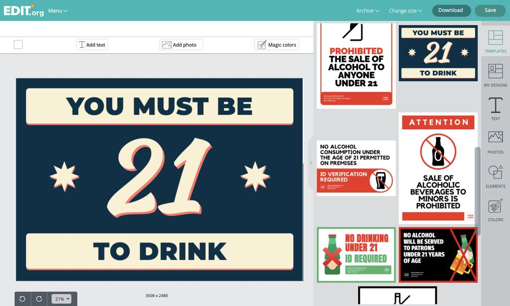 Editor online for sign templates to indicate the prohibition of selling drinks to minors