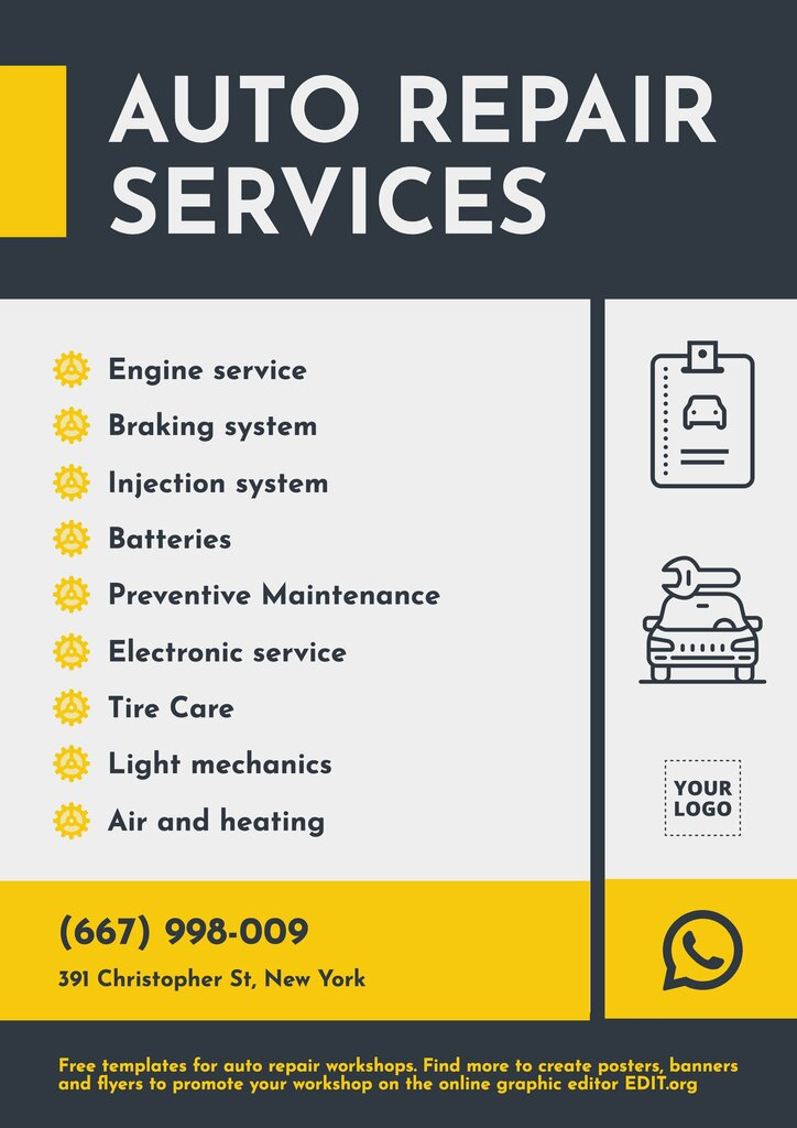 Auto repair services editable poster template to edit online for free
