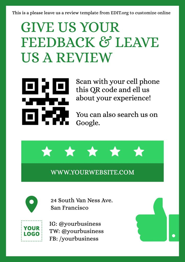 Leave us google reviews template to edit online