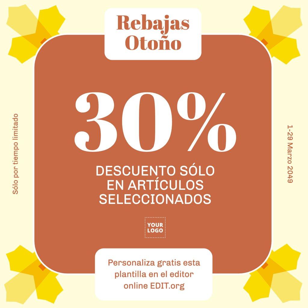 Plantilla de diseño editable online para crear banner promocional de rebajas de Otoño