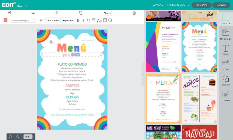 Editor gráfico con plantillas gratis de menus para niños para restaurantes