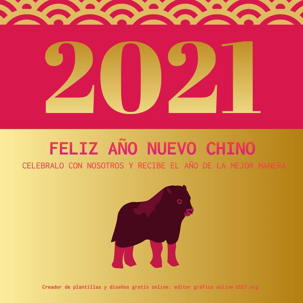 Plantilla para felicitar el Año Nuevo Chino 2021, año del buey