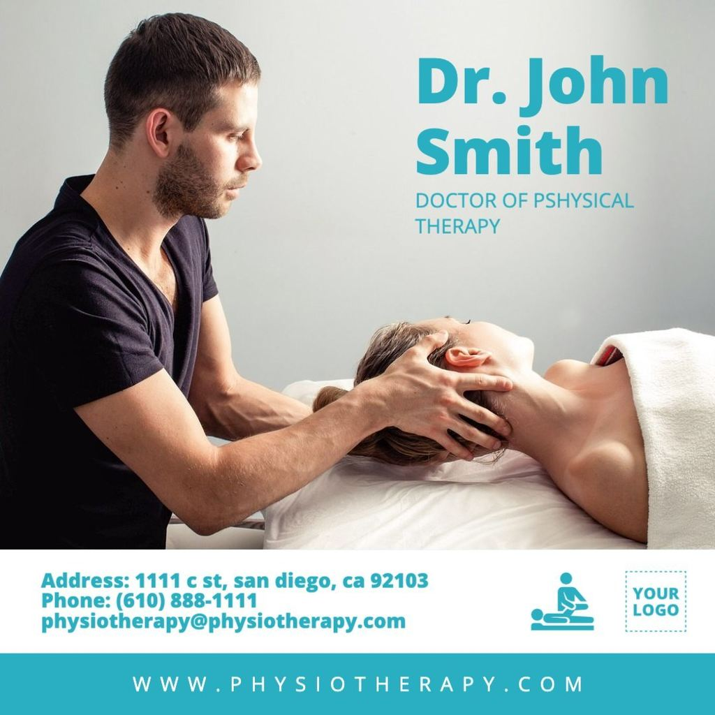 Physical therapist doctor template with background photo