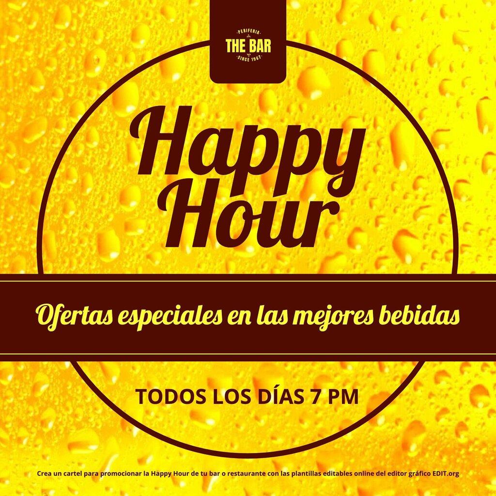 Plantilla de banner para promocionar Happy Hour con fondo de cerveza y burbujas espectacular