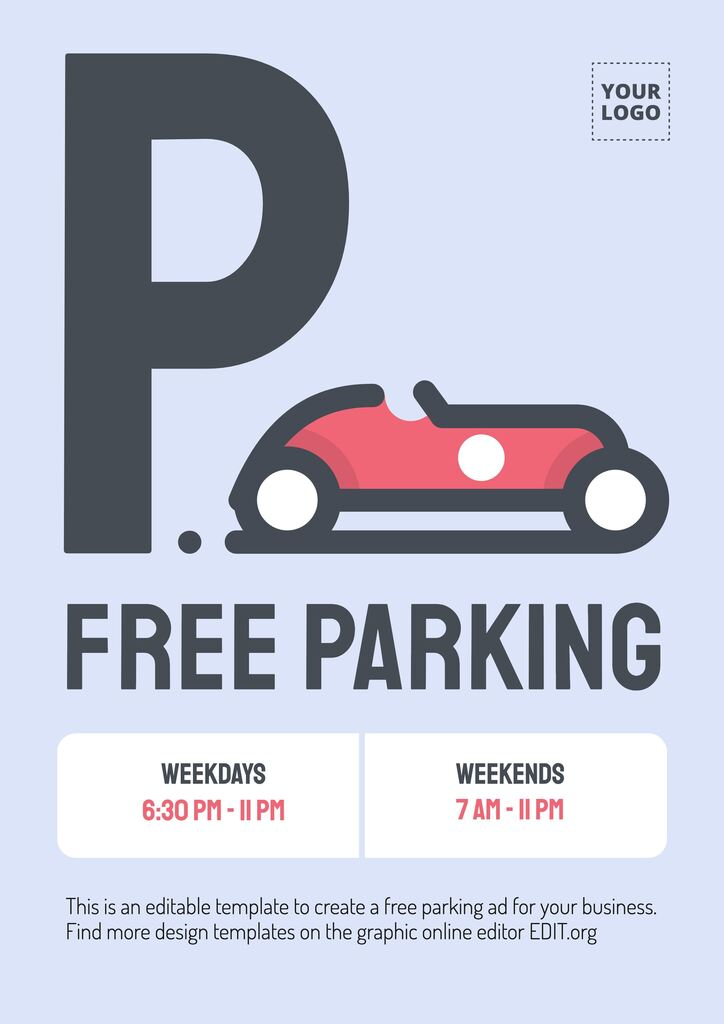 Free parking promo template with cool design with a car clipart