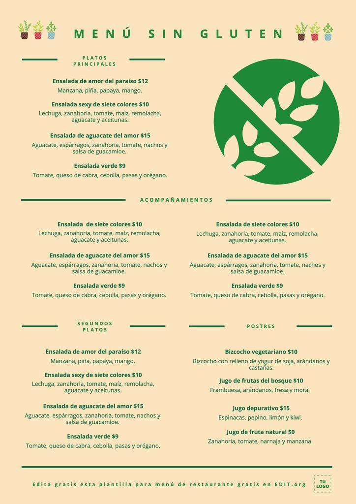 Plantilla menu sin gluten para editar gratis