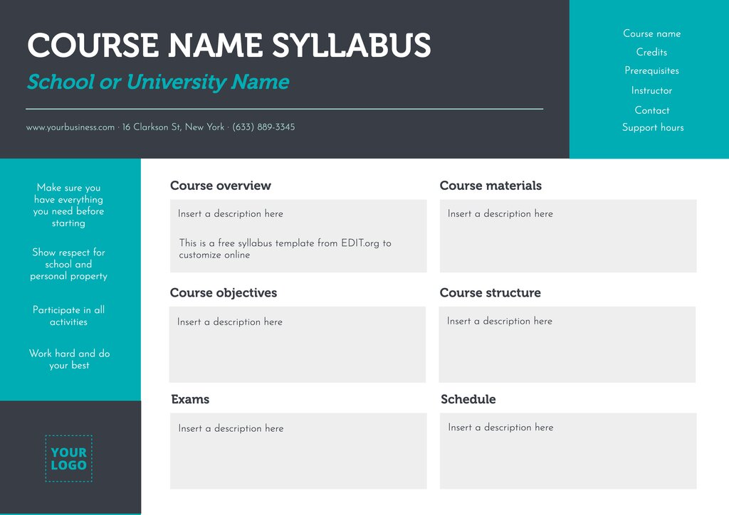 Customizable sample syllabus template for teachers