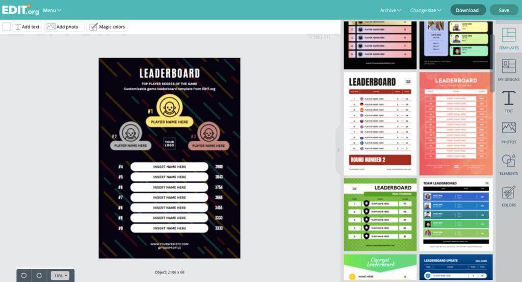 Editable gaming leaderboard template