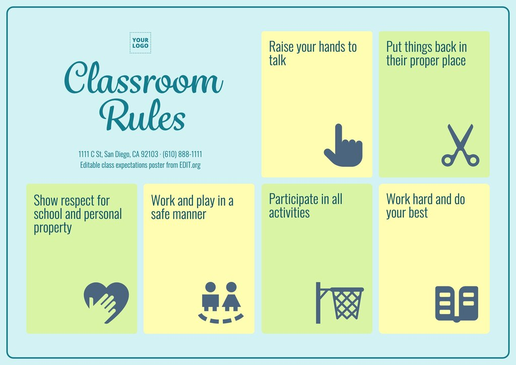Customizable class rules poster template