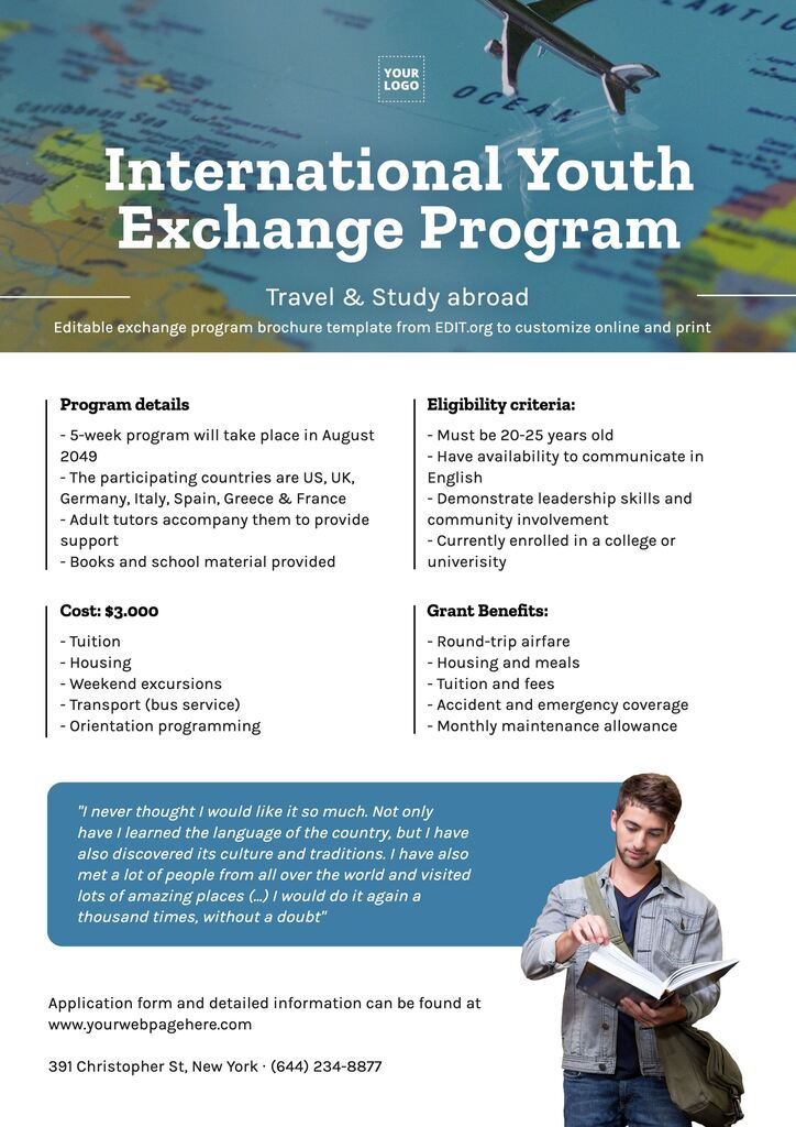Editable templates for educational exchange programs