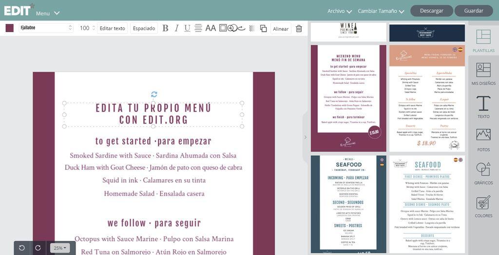 editar menus de restaurante online