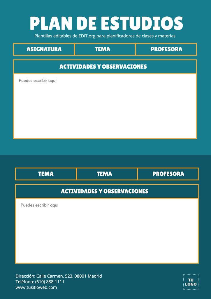 Plantillas para planificar clases personalizables y gratis