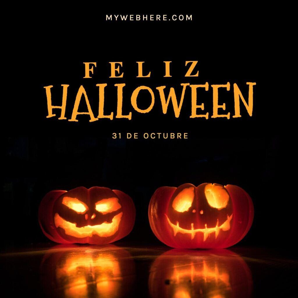 Plantilla feliz halloween para editar y compartir en instagram o facebook con calabazas