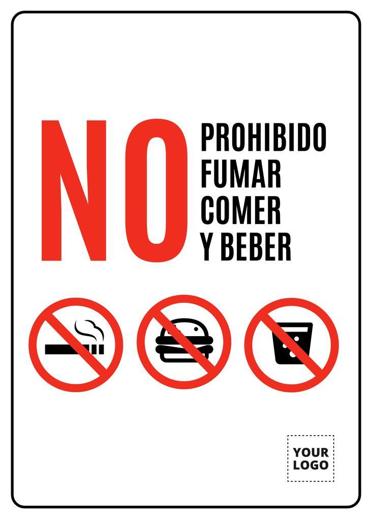 No fumar comer o beber cartel editable