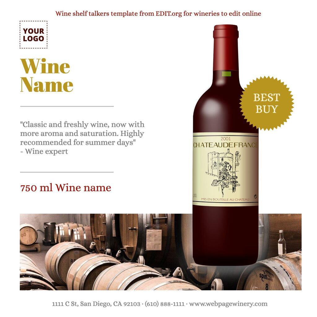 Wine shelf talkers template to customize online for wine bars