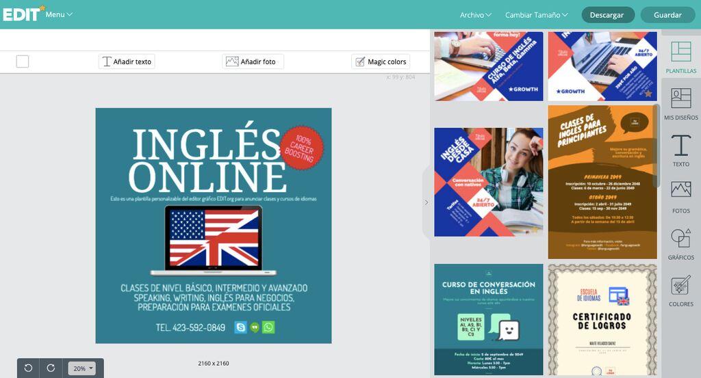 Diseños para anunciar clases y cursos de idiomas