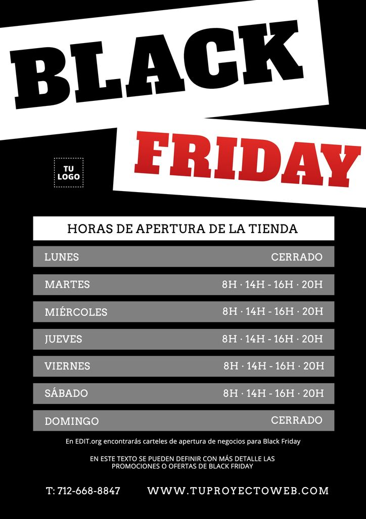 Crear cartel de horario comercial para Black Friday