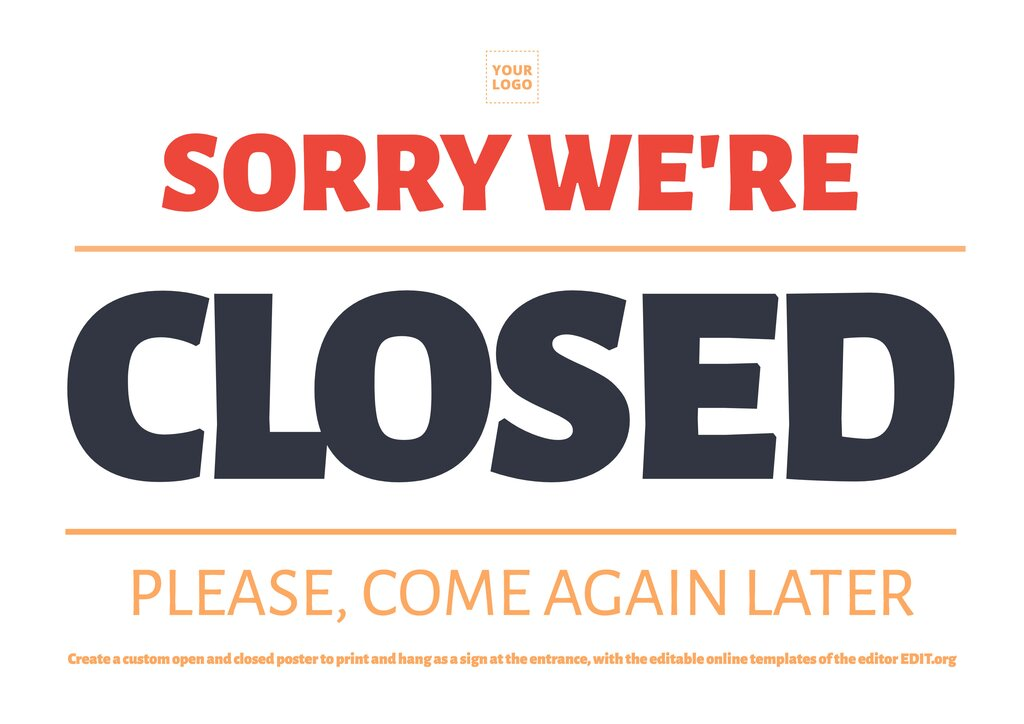 Sorry, we're Closed, sign template to customize online, download for free, print and hang