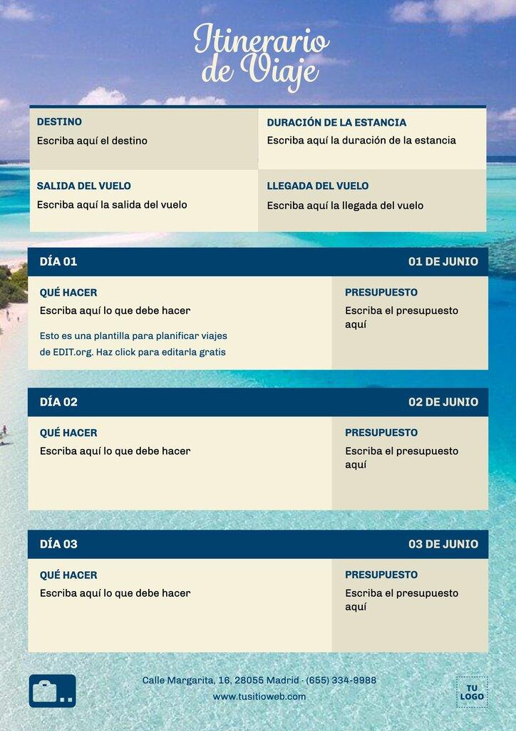 Plantilla de itinerario de viaje editable gratis online