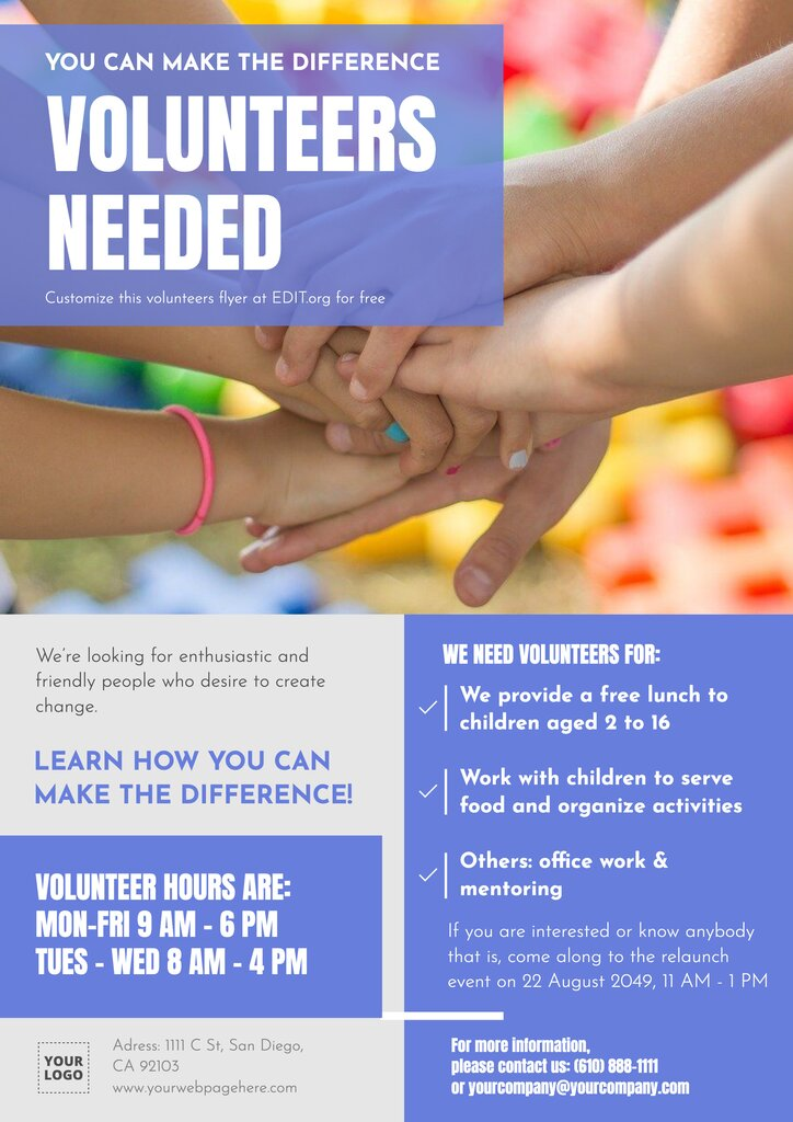 Free volunteer flyer examples to edit and print