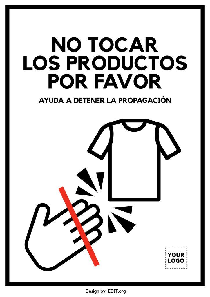 Cartel editable No tocar los productos por favor