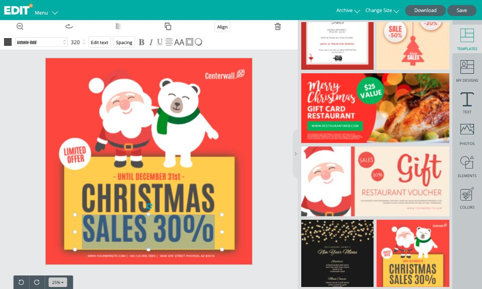 Online editor for Christmas promo templates for free
