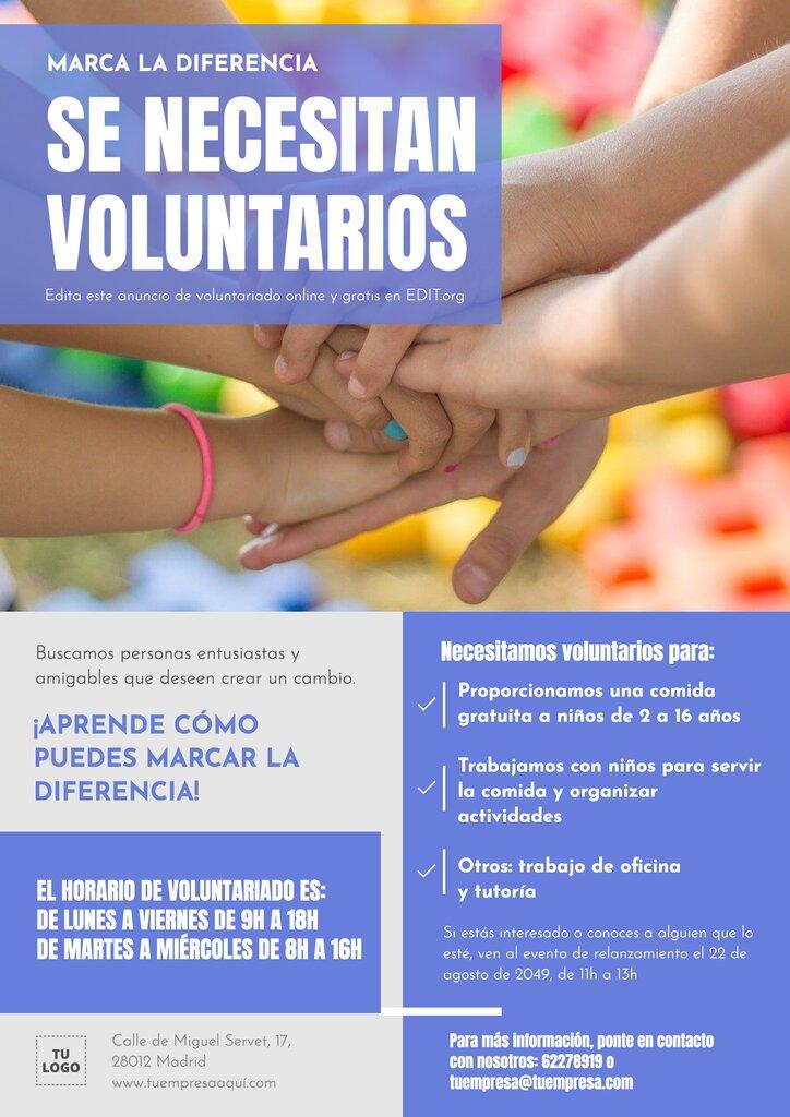 Folleto para promocionar un voluntariado editable online